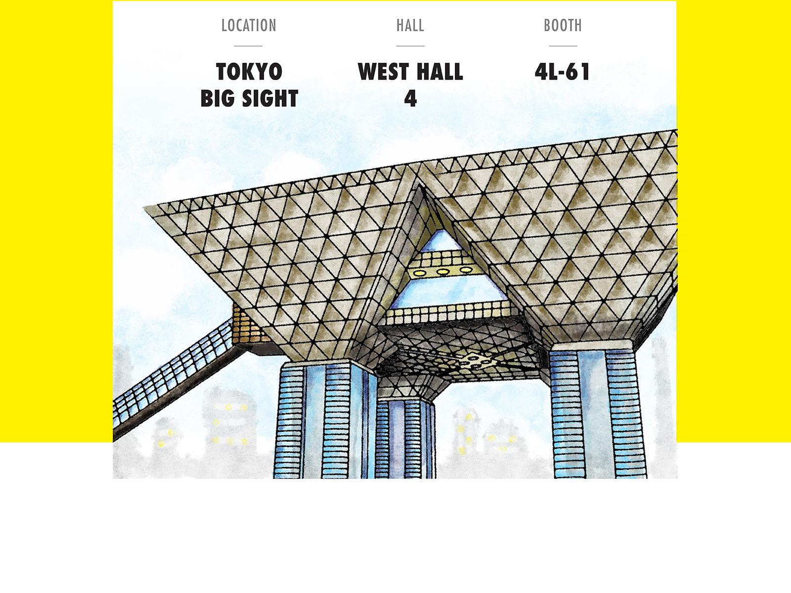 Y2S Wellness social media management post illustration of Big Sight in Tokyo, Japan