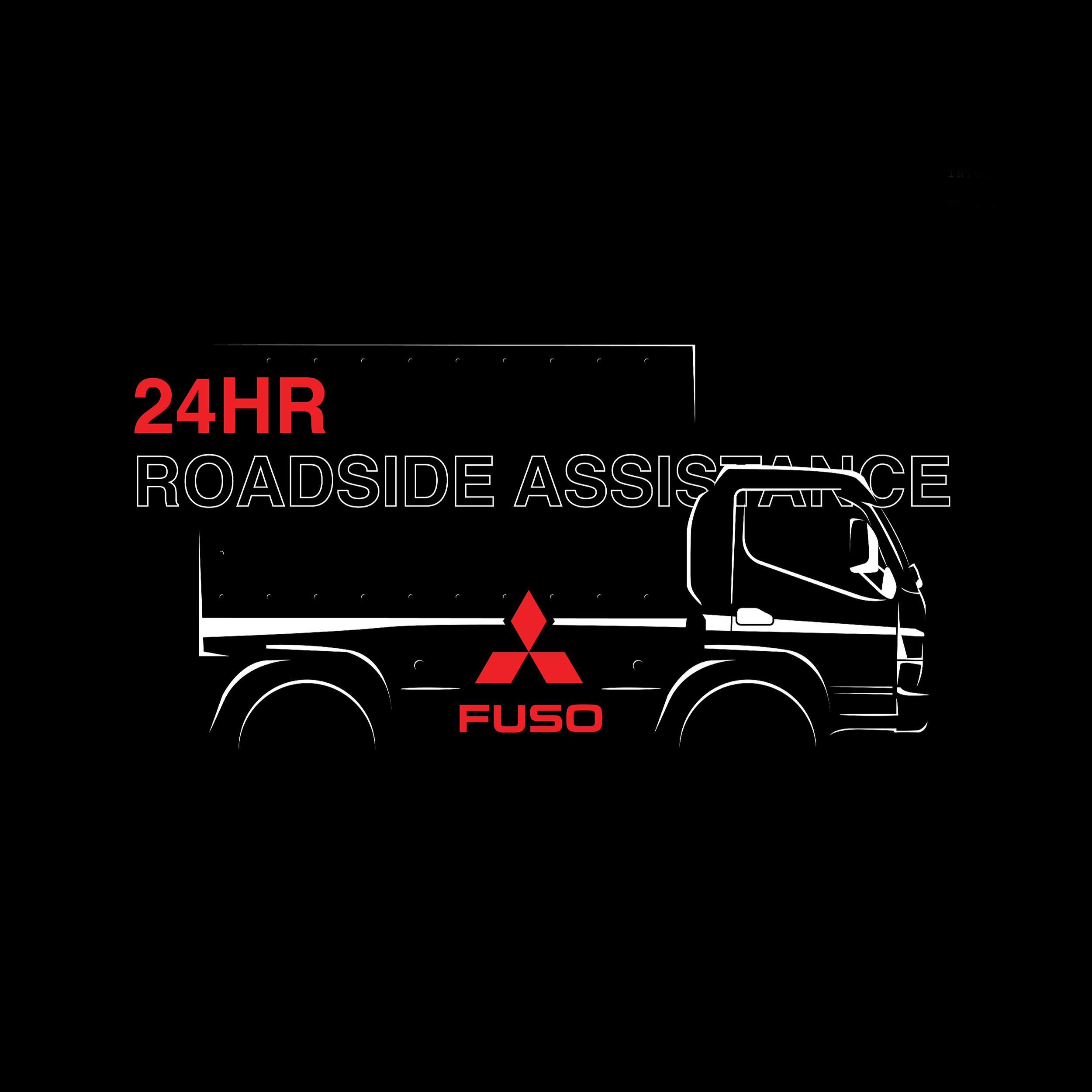 FUSO Trucks 24HR Roadside Assistance Campaign measthead design on illustrated truck