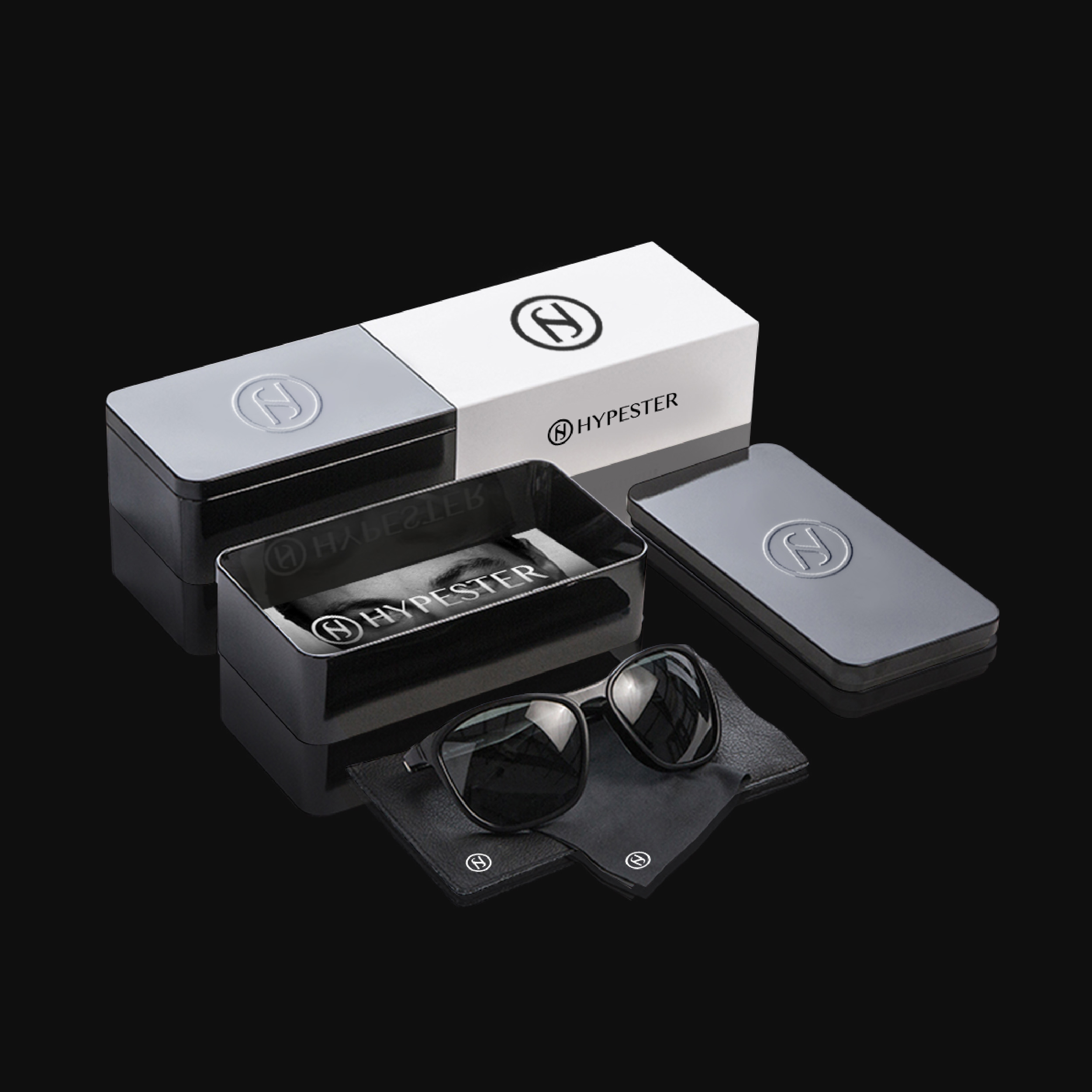 Hypester product and packaging design showing sunglasses and metal container