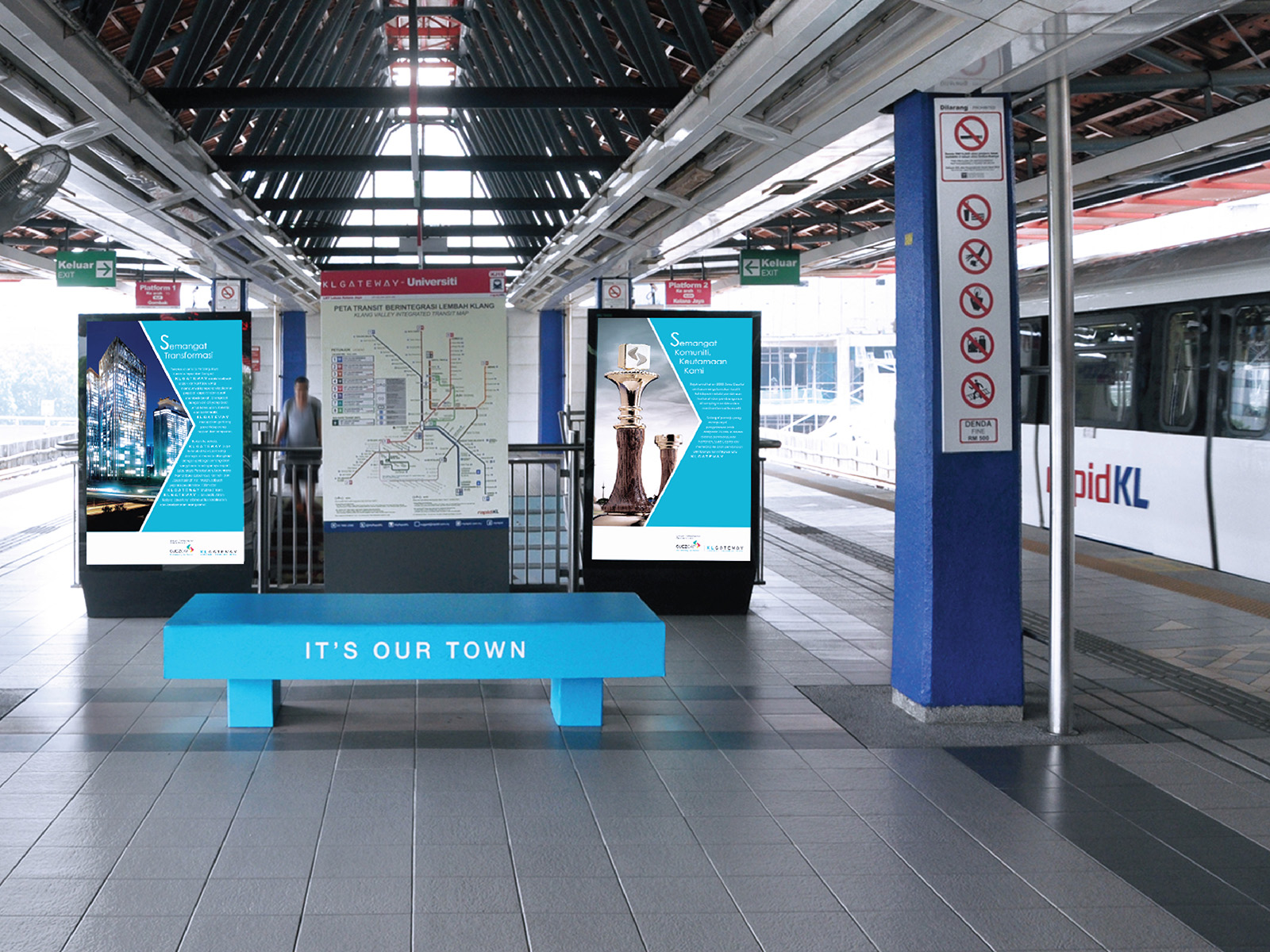 KL Gateway by Suezcap train station brand advertisement takeover with brand ads digital ad boards and bench wrap