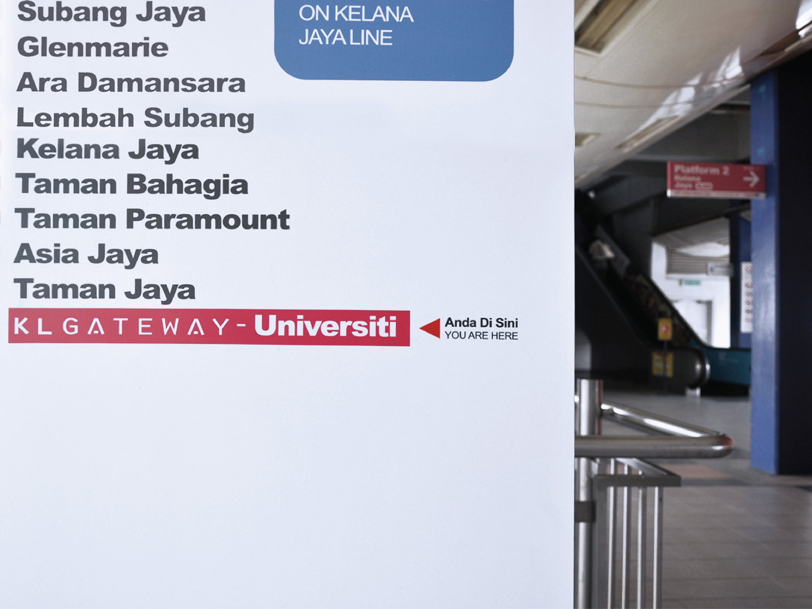 KL Gateway by Suezcap train station brand advertisement takeover and name change to KL Gateway seen on train route signage