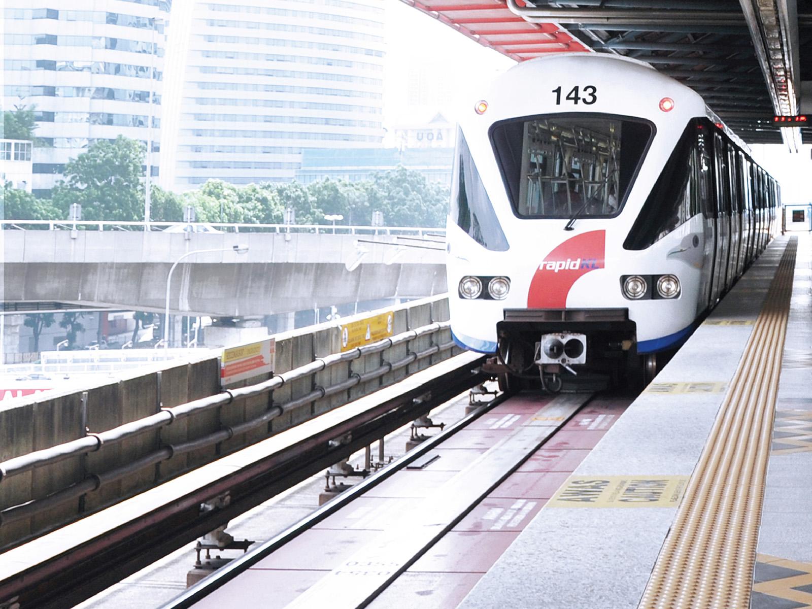 Train approaching KL Gateway - Universiti train station