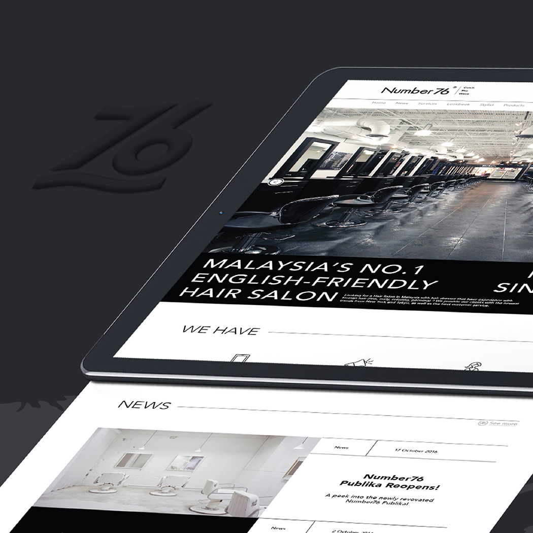 Number76 website user interface and user experience design featuring landing page design with introductory photo, services and news panels