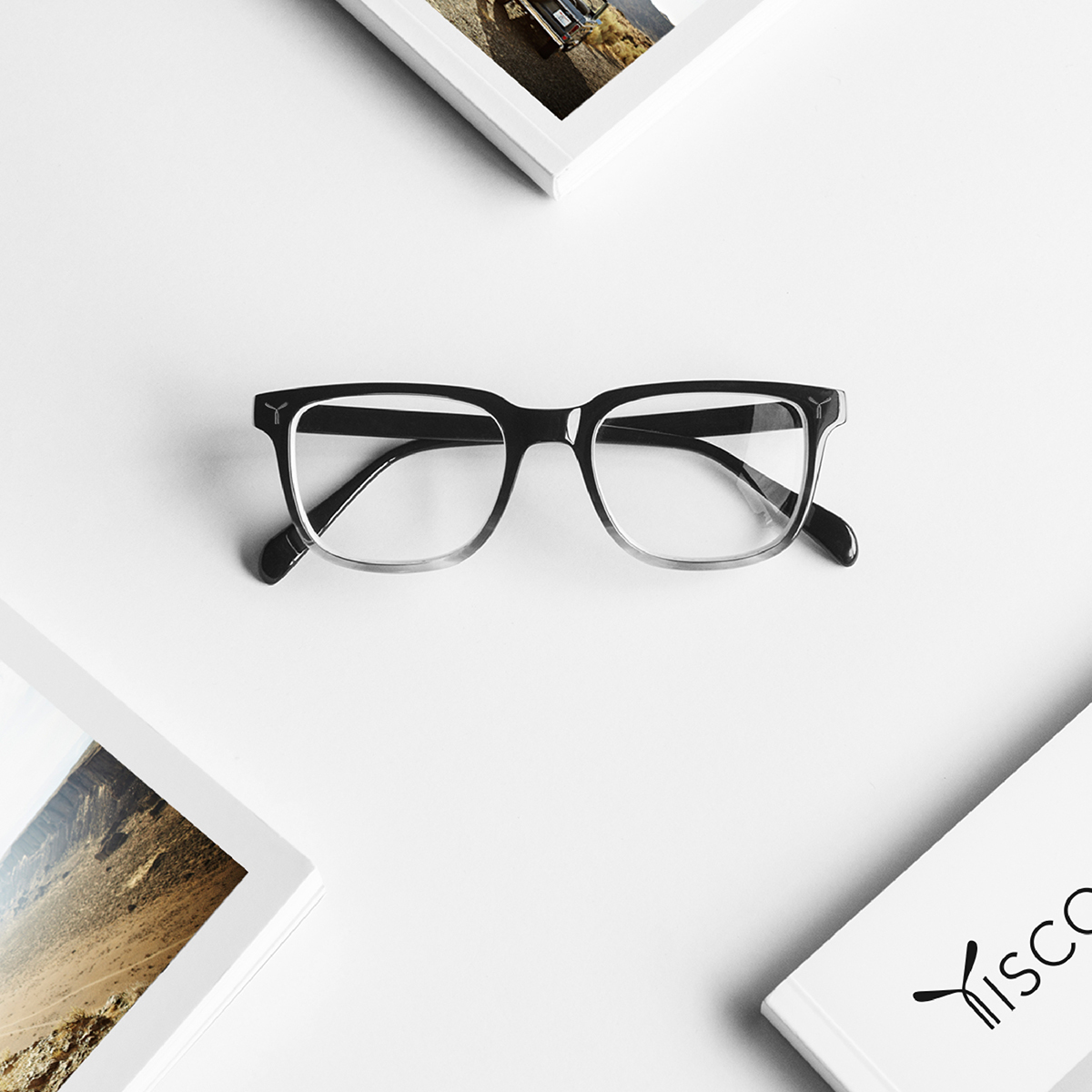 Tiscover titanium frames eyewear surrounded by product catalogue