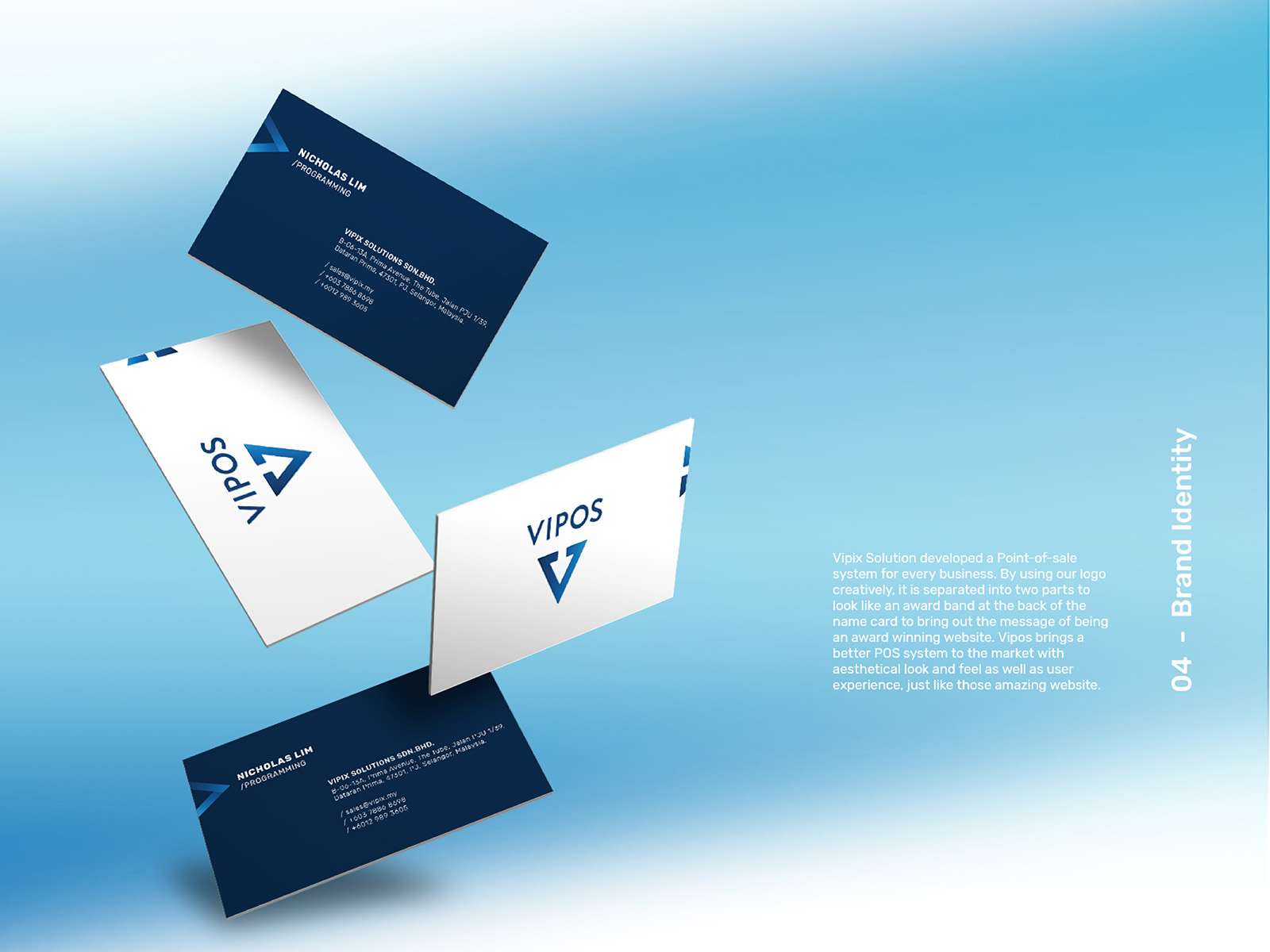 Vipos POS system branding development and showcasing name card design and breaking off the V on the top left of the name card to form a banner like how website are awarded winners with a banner
