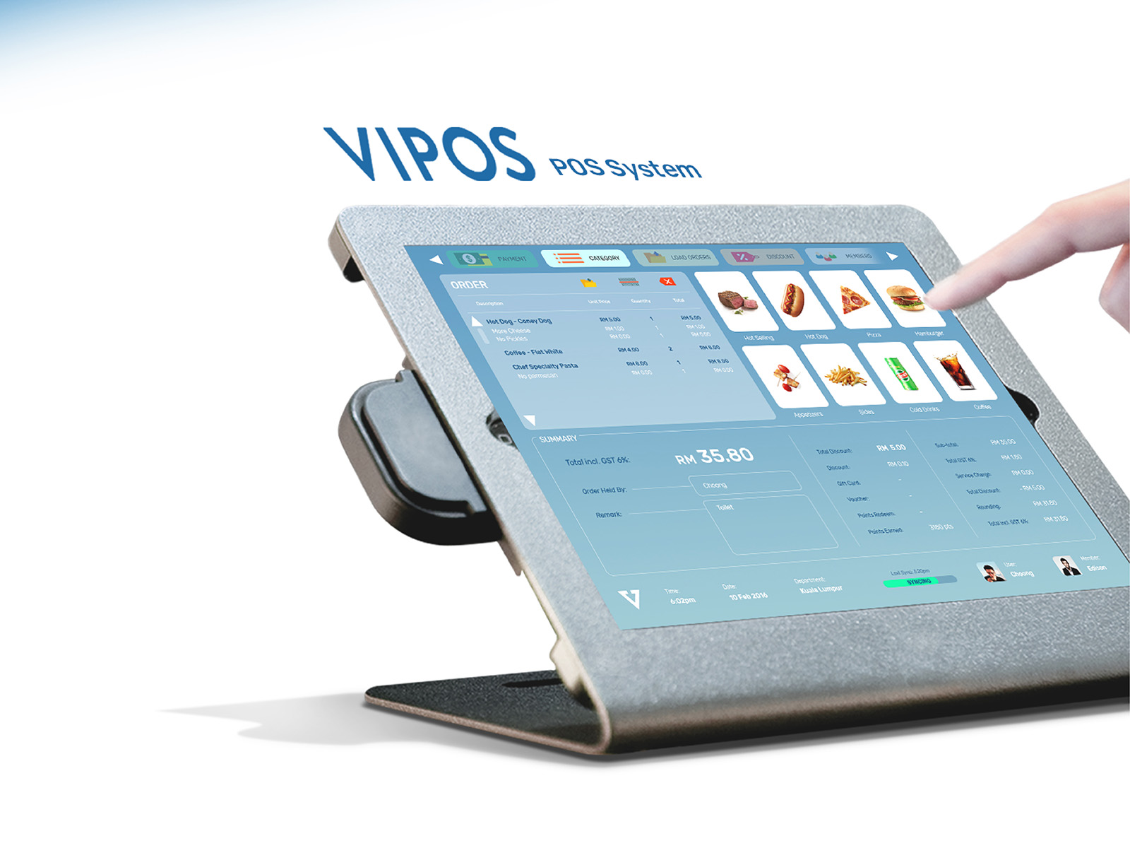 Vipos POS system product user interface and user experience design
