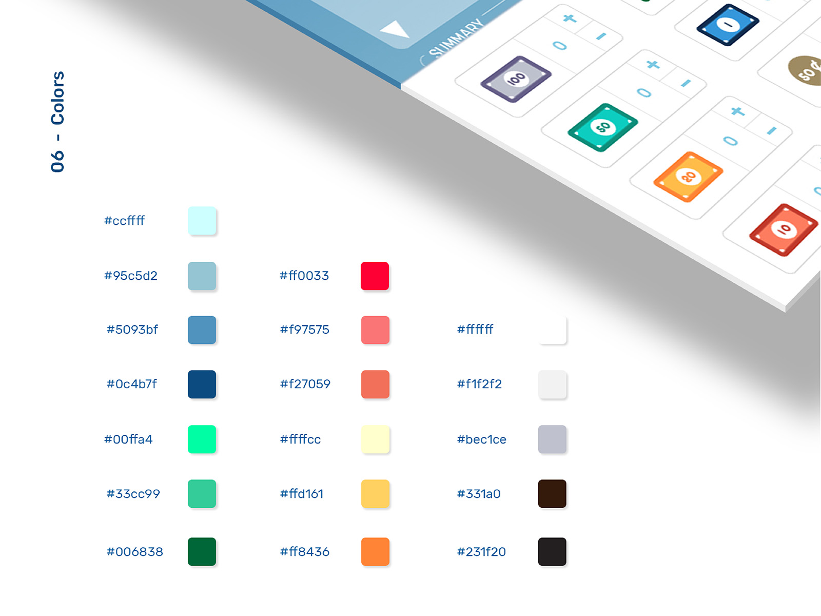 Vipos POS system product user interface and user experience design featuring the colours codes used in the design