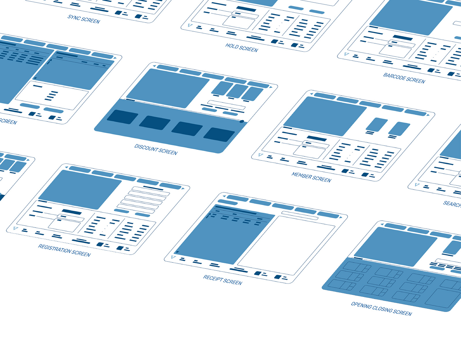 Vipos POS system product user interface and user experience wireframes development