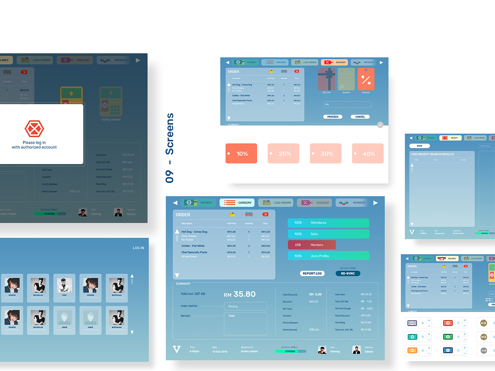 Vipos POS system product user interface and user experience designed screens showing users page, main screen, promotional screen and error screen
