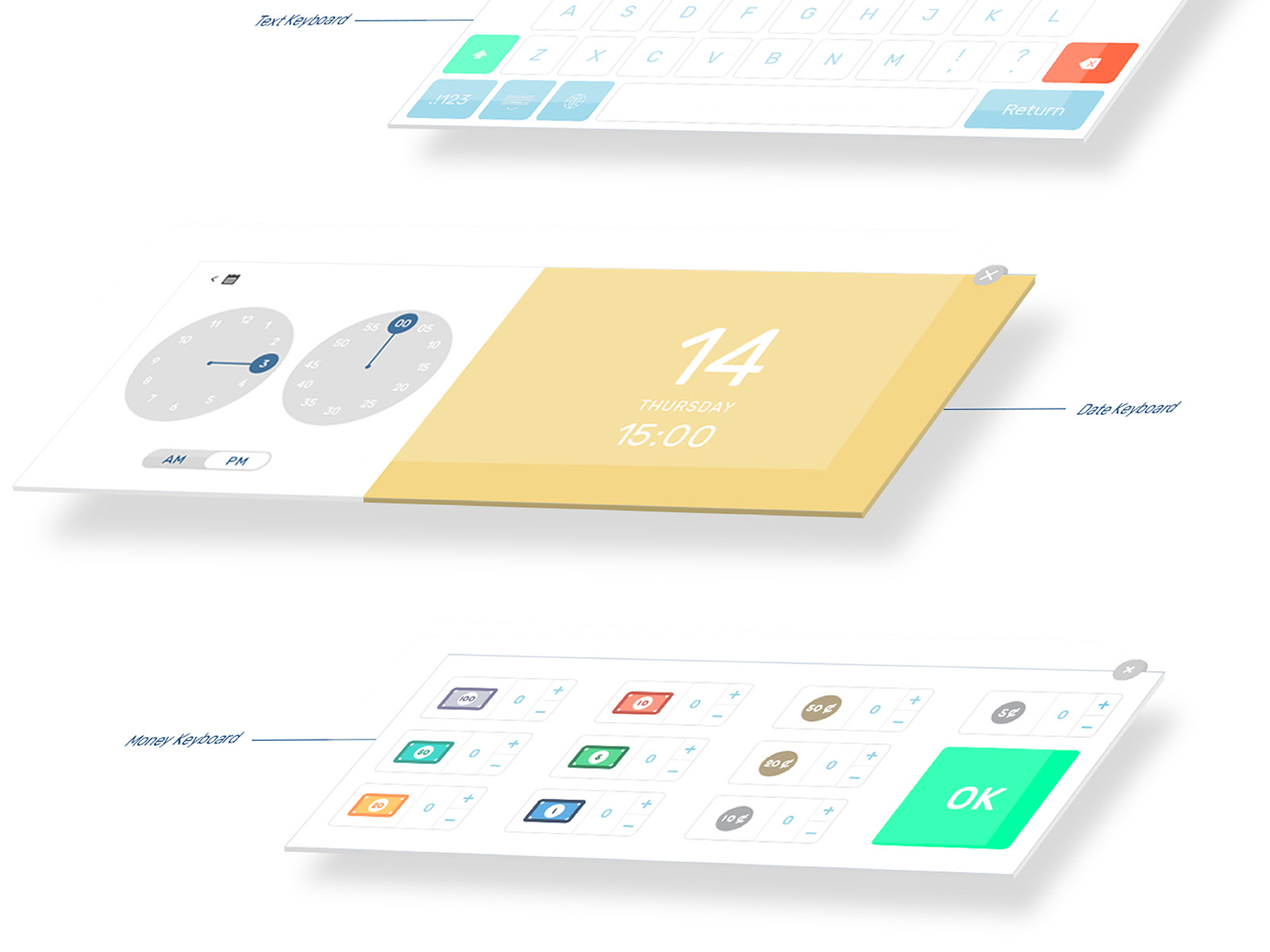 Vipos POS system product user interface and user experience designed screens showing text, date and money keyboard