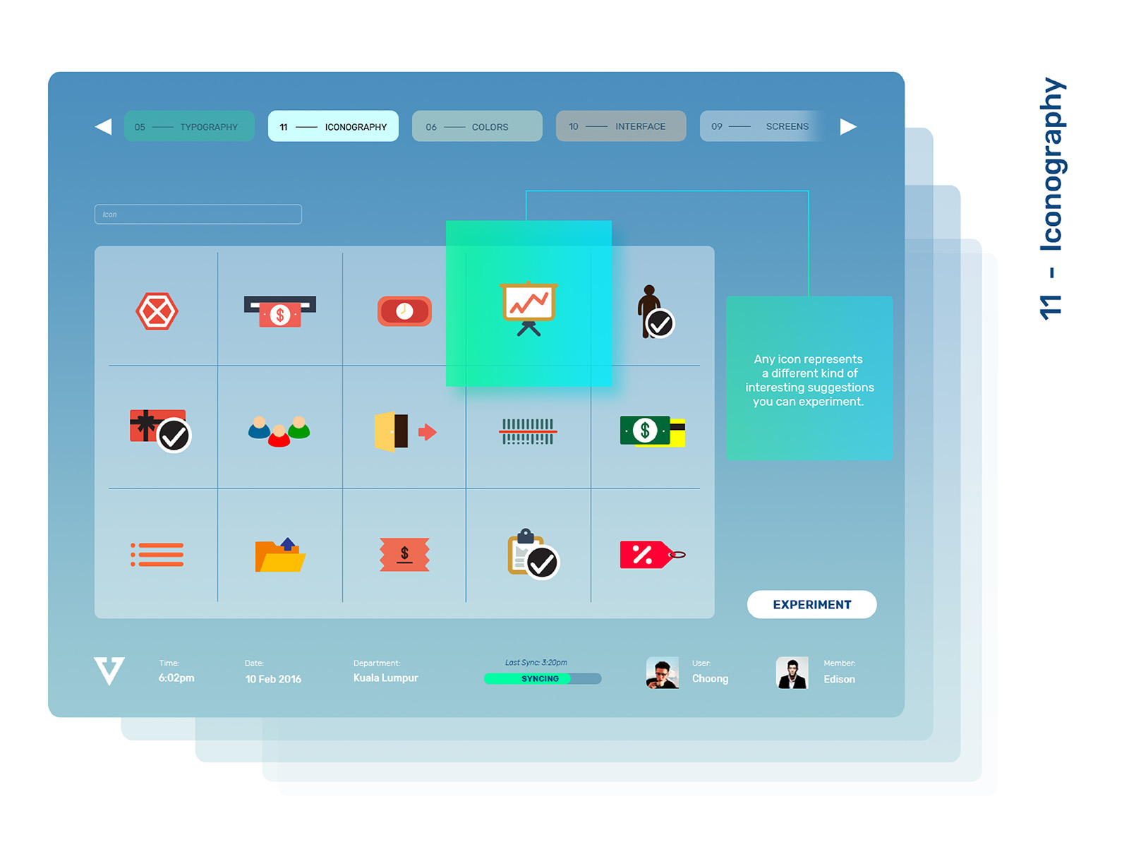 Vipos POS system product user interface and user experience designed featuring various icons design throughout the entire system