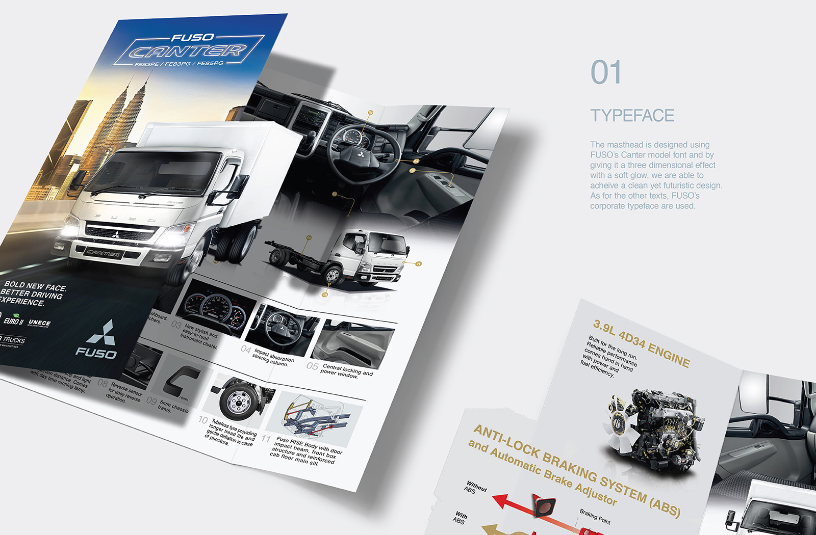 Fuso Trucks Canter FE/FG 2017 brochure design featuring a die-cut of the the truck against two different background showcasing truck's versatility in various environment with USP