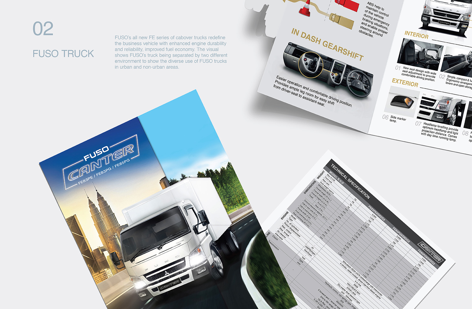 Fuso Trucks Canter FE/FG 2017 brochure design featuring a die-cut of the the truck against two different background showcasing truck's versatility in various environment with product USP