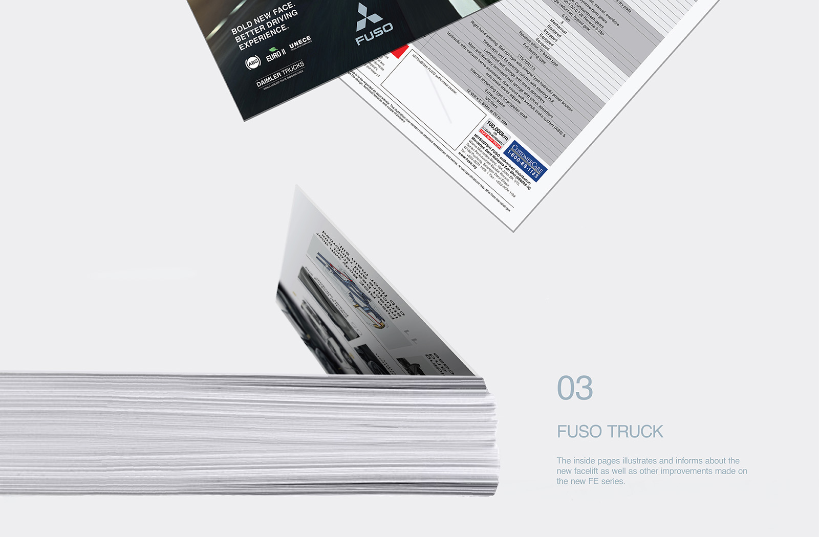 Fuso Trucks Canter FE/FG 2017 brochure design featuring a die-cut of the the truck against two different background showcasing truck's versatility in various environment and a bunch of brochures stacked on top of each other