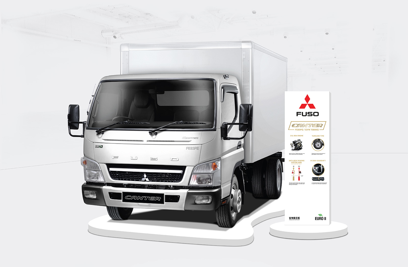 Fuso Trucks Canter FE/FG 2017 exhibition pylon design with product USP accompanying a truck on a platform