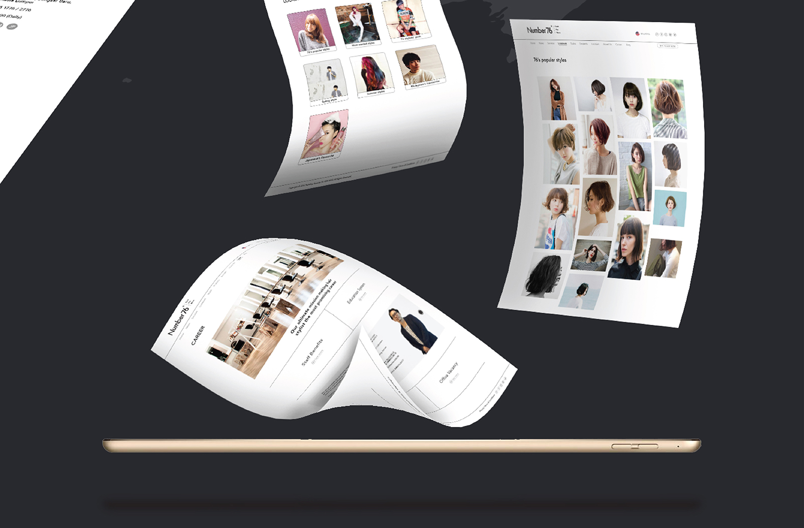 Number76 website user interface and user experience page design of news and gallery of hairstyles