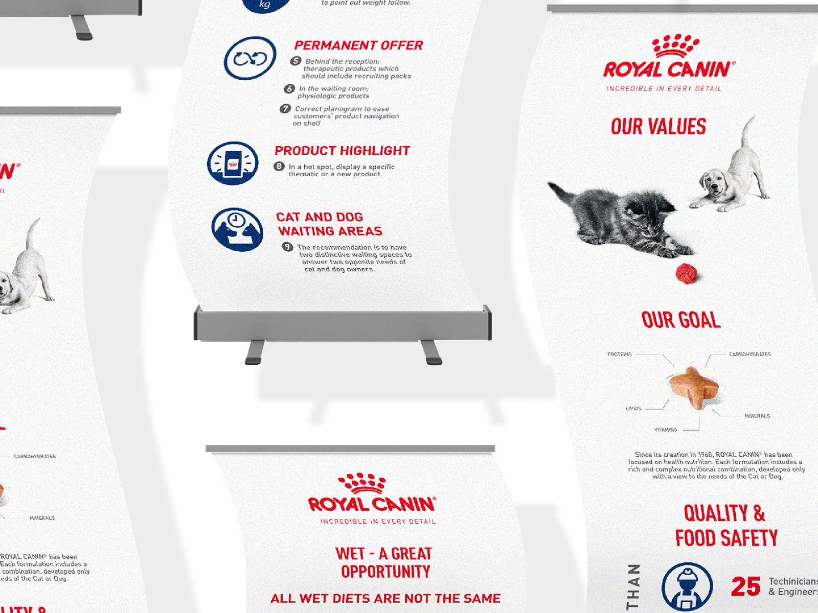 Royal Canin branding bunting that speaks of their product USPs and brand values as well as goals