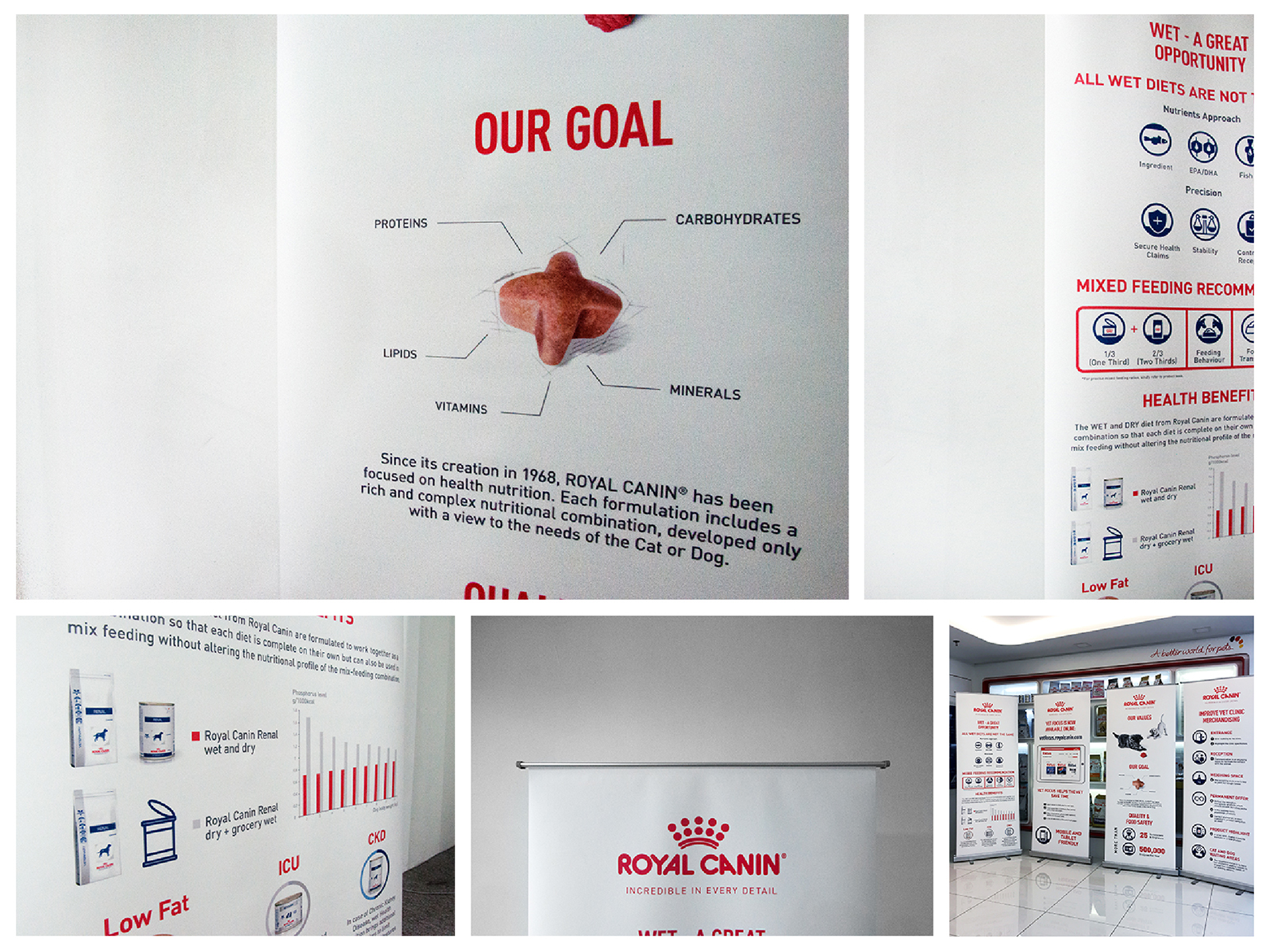 Royal Canin branding bunting that highlights their product USPs and appointed vet clinics that they work with
