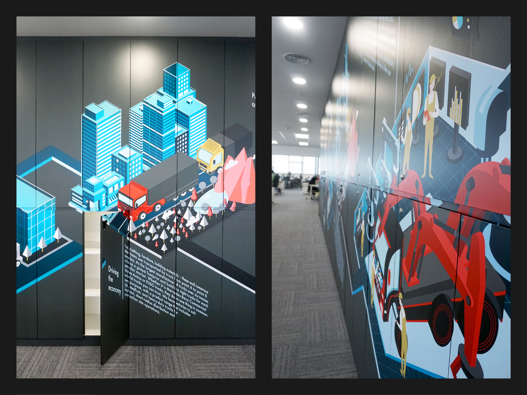 Mercedes-Benz wall art illustration design highlighting each part of their operations from assembly to sales and delivery printed on a wall of locker storage cupboard front and side view.