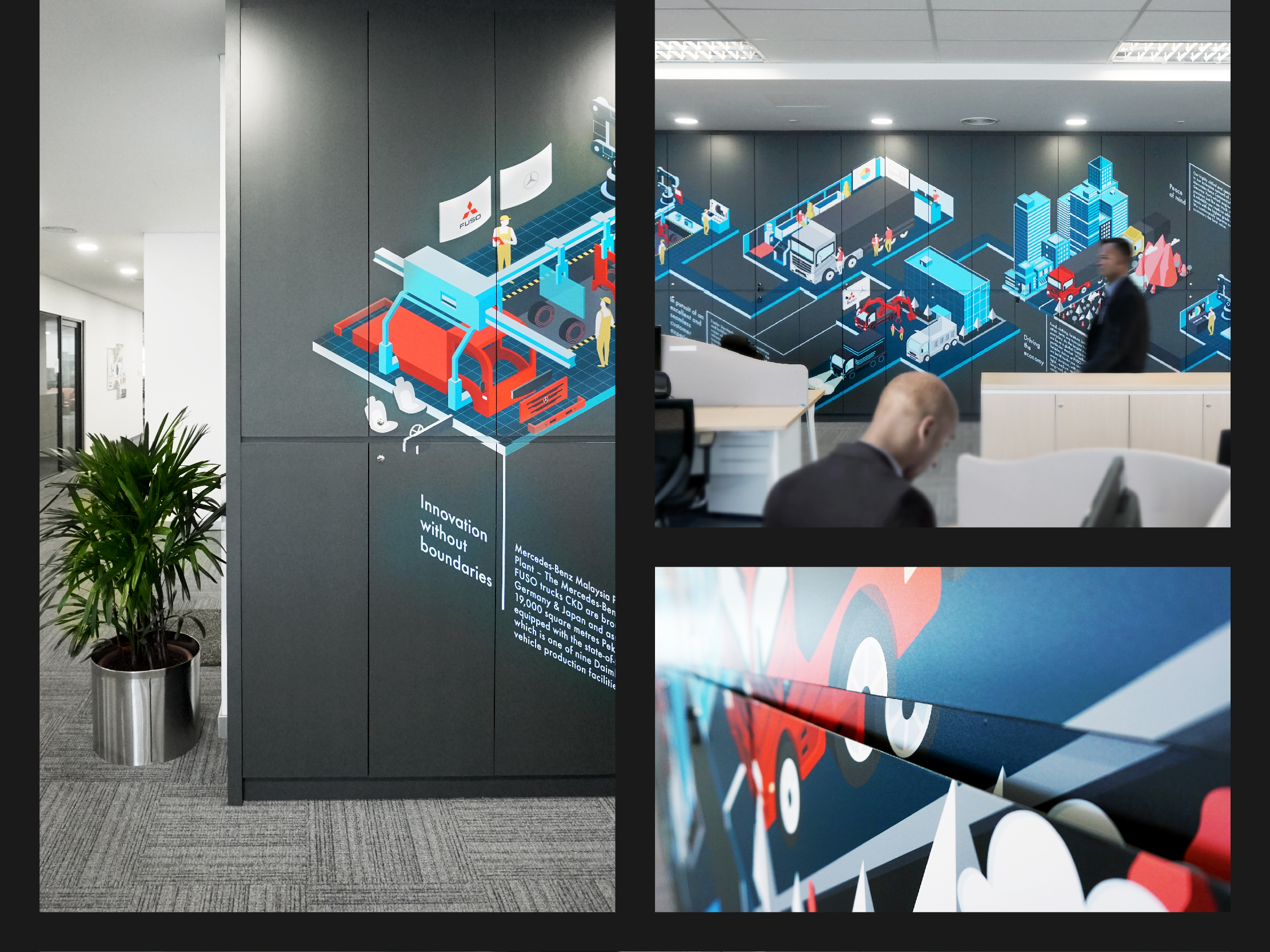 Mercedes-Benz wall art illustration design highlighting each part of their operations from assembly to sales and delivery printed on a wall of locker storage cupboard corner view, front view with people working and walking pass and an up close detail of the gap printing for a seamless visual view.