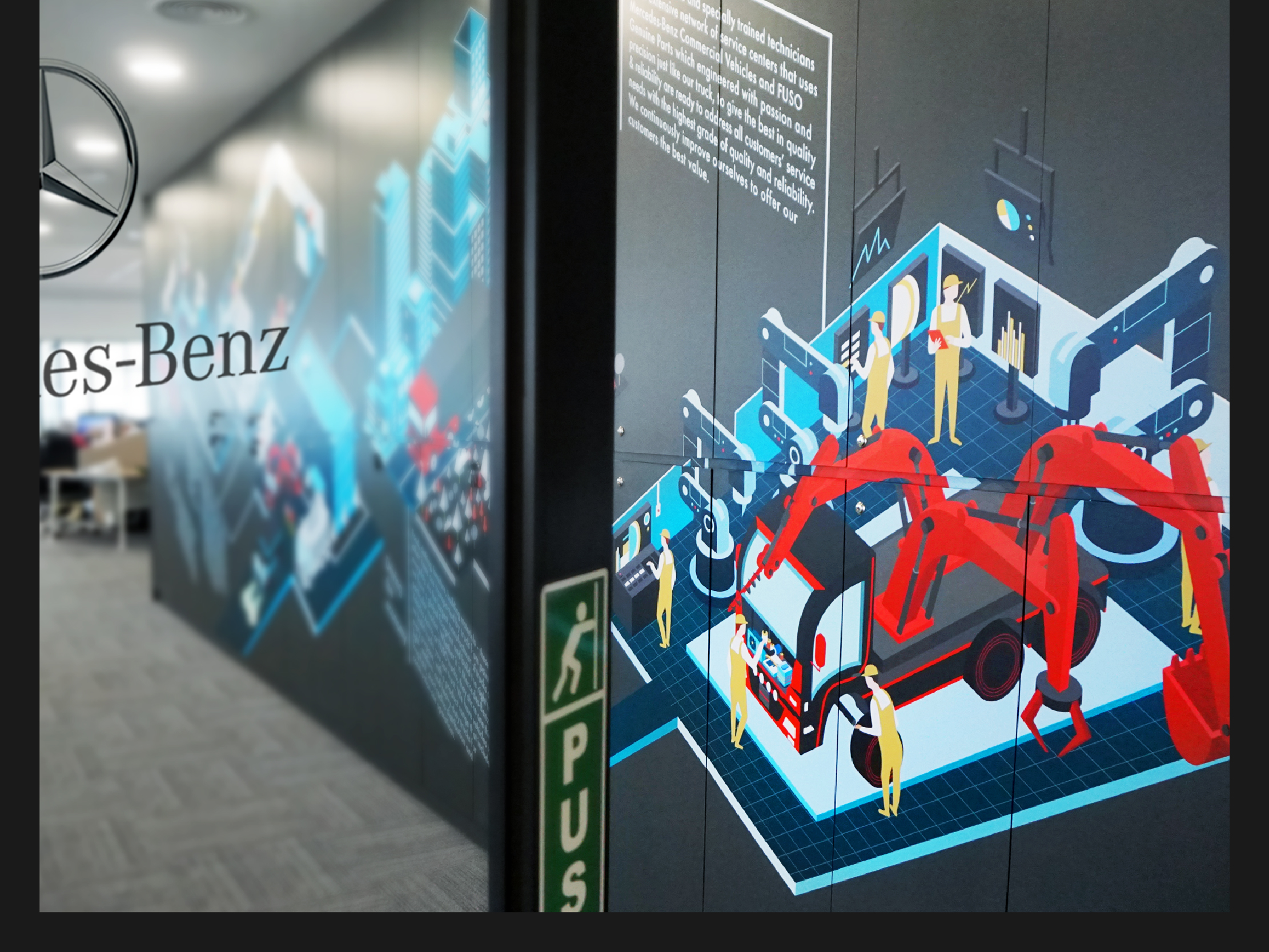 Mercedes-Benz wall art illustration design highlighting each part of their operations from assembly to sales and delivery printed on a wall of locker storage cupboard viewed when entering the office