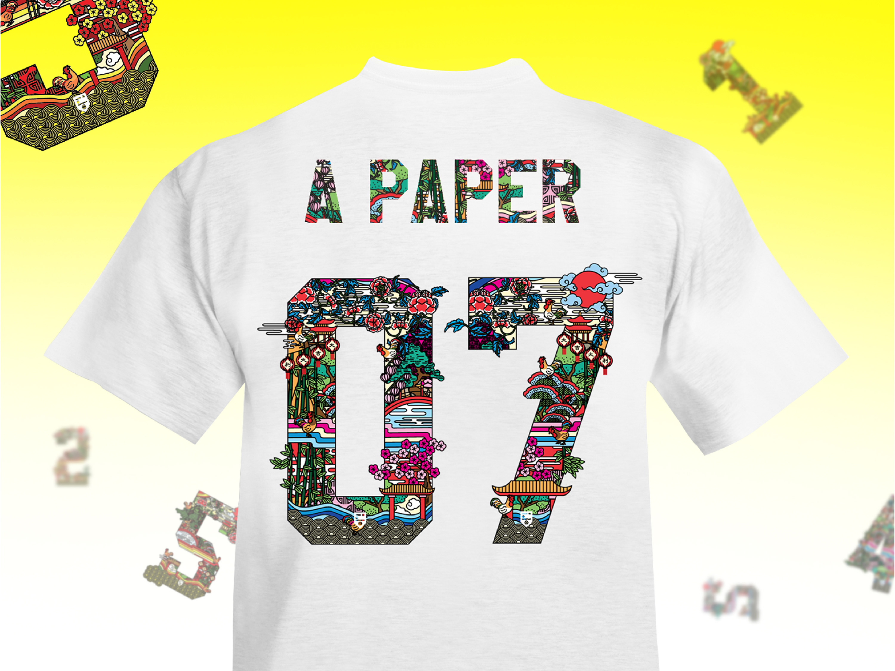 IDOTshirt fashion brand Chinese New Year - Year of the Rooster illustration of numbers and alphabets in two different tones of festive colour on tshirt