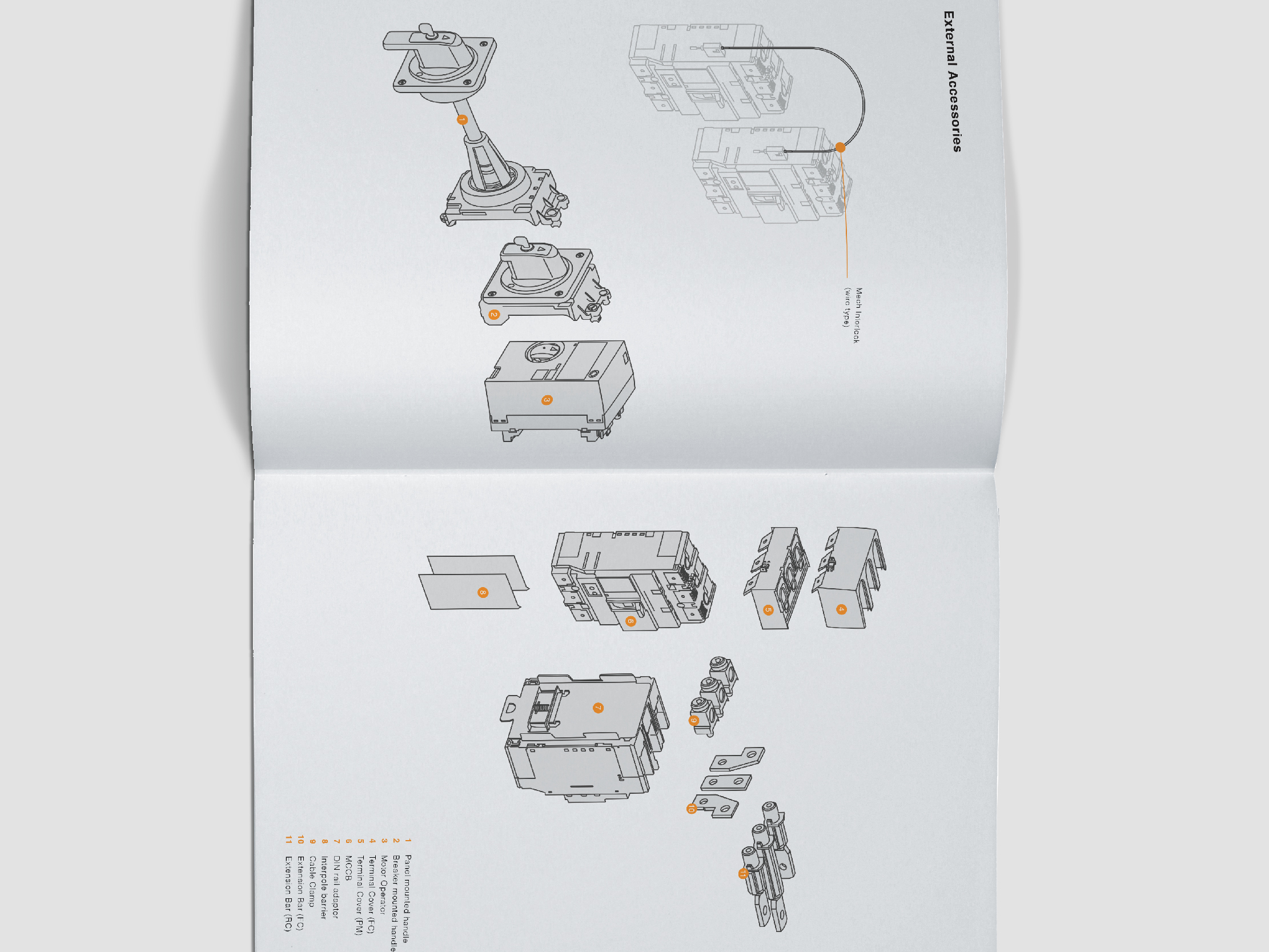 Terasaki Electric company profile inner pages clean layout design with product illustration and technical drawings