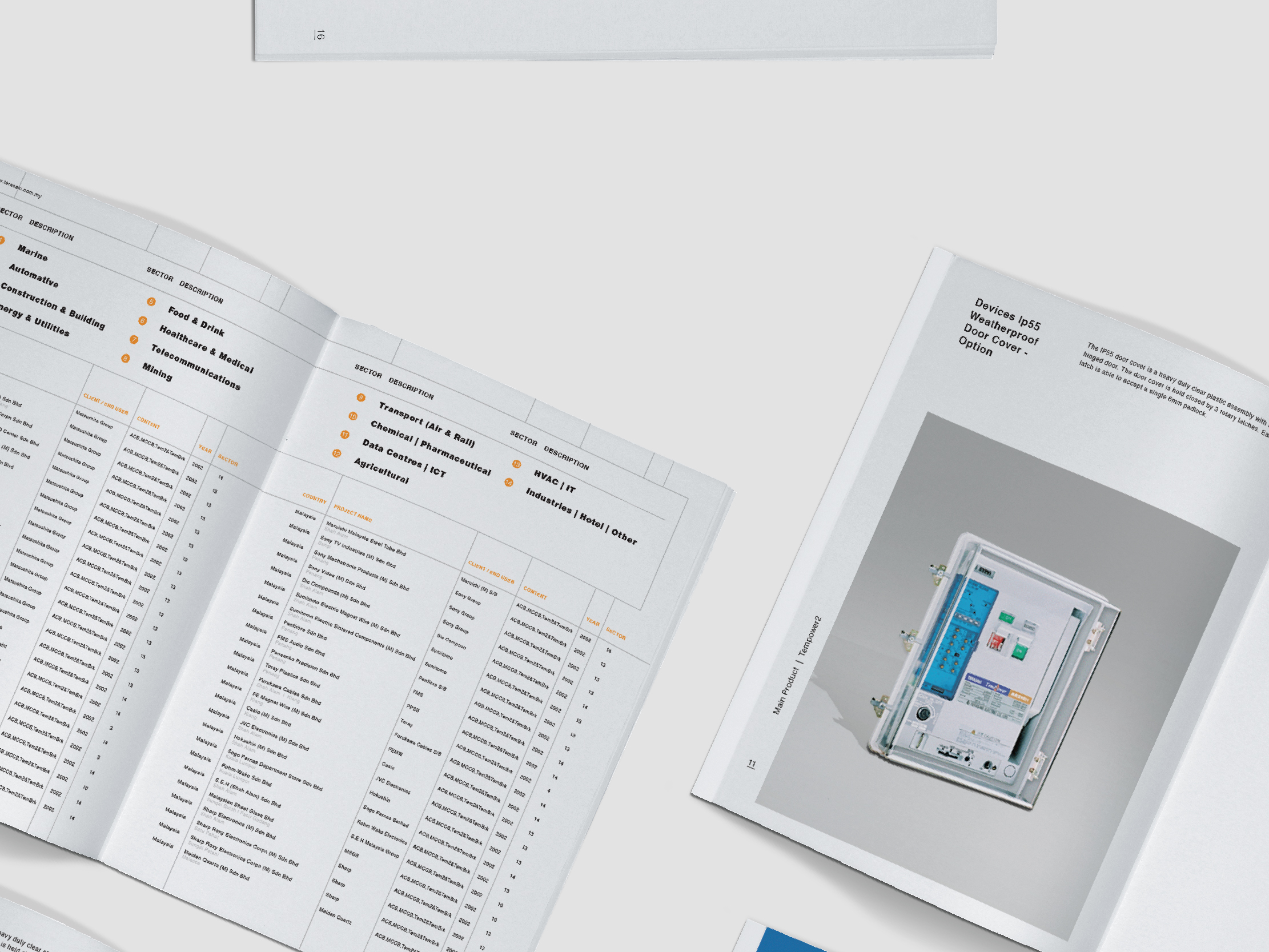 Terasaki Electric company profile inner pages clean layout design with project list and product description