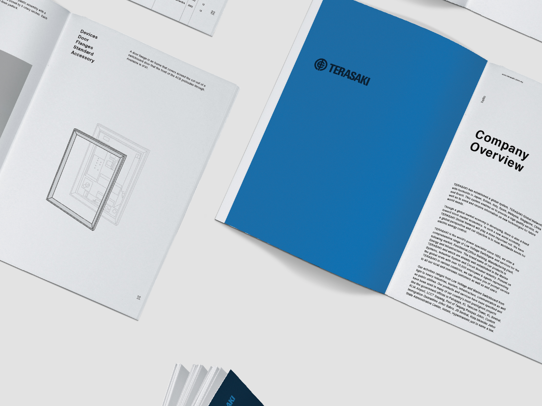 Terasaki Electric company profile inner pages clean layout design with product description and company overview