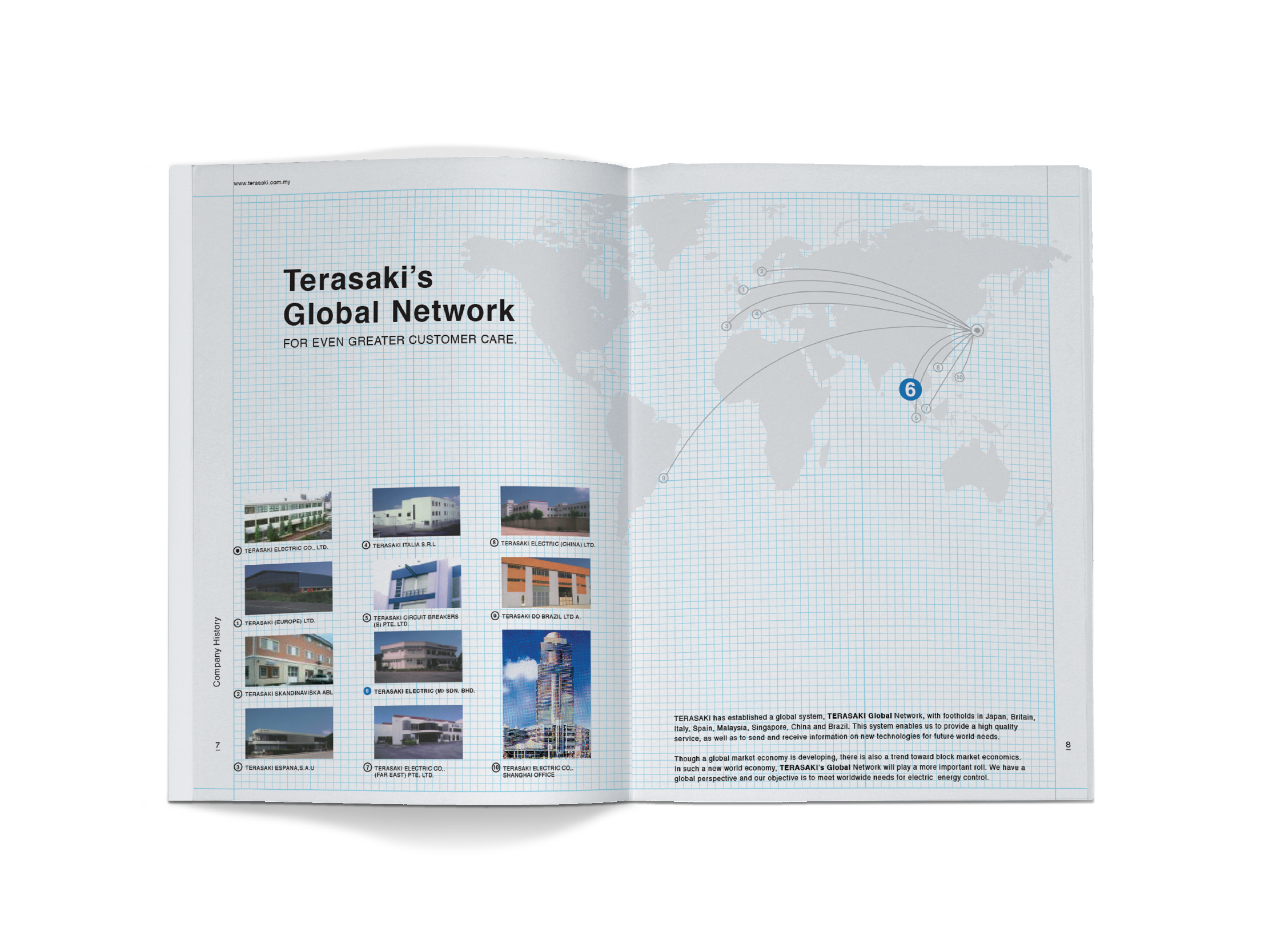 Terasaki Electric company profile inner pages clean layout design of the company's global network with image of offices in different countries against a blue grid background