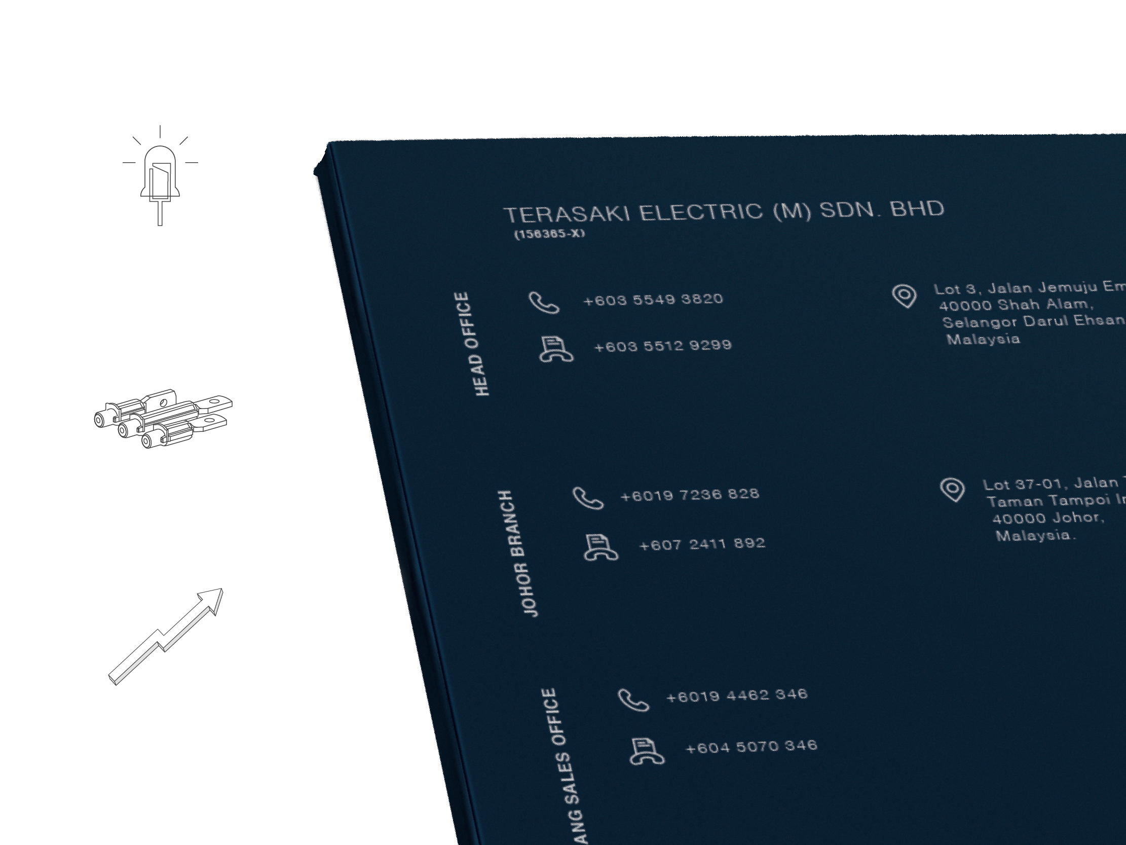 Terasaki Electric company profile back cover with clean layout design with icon and product illustration