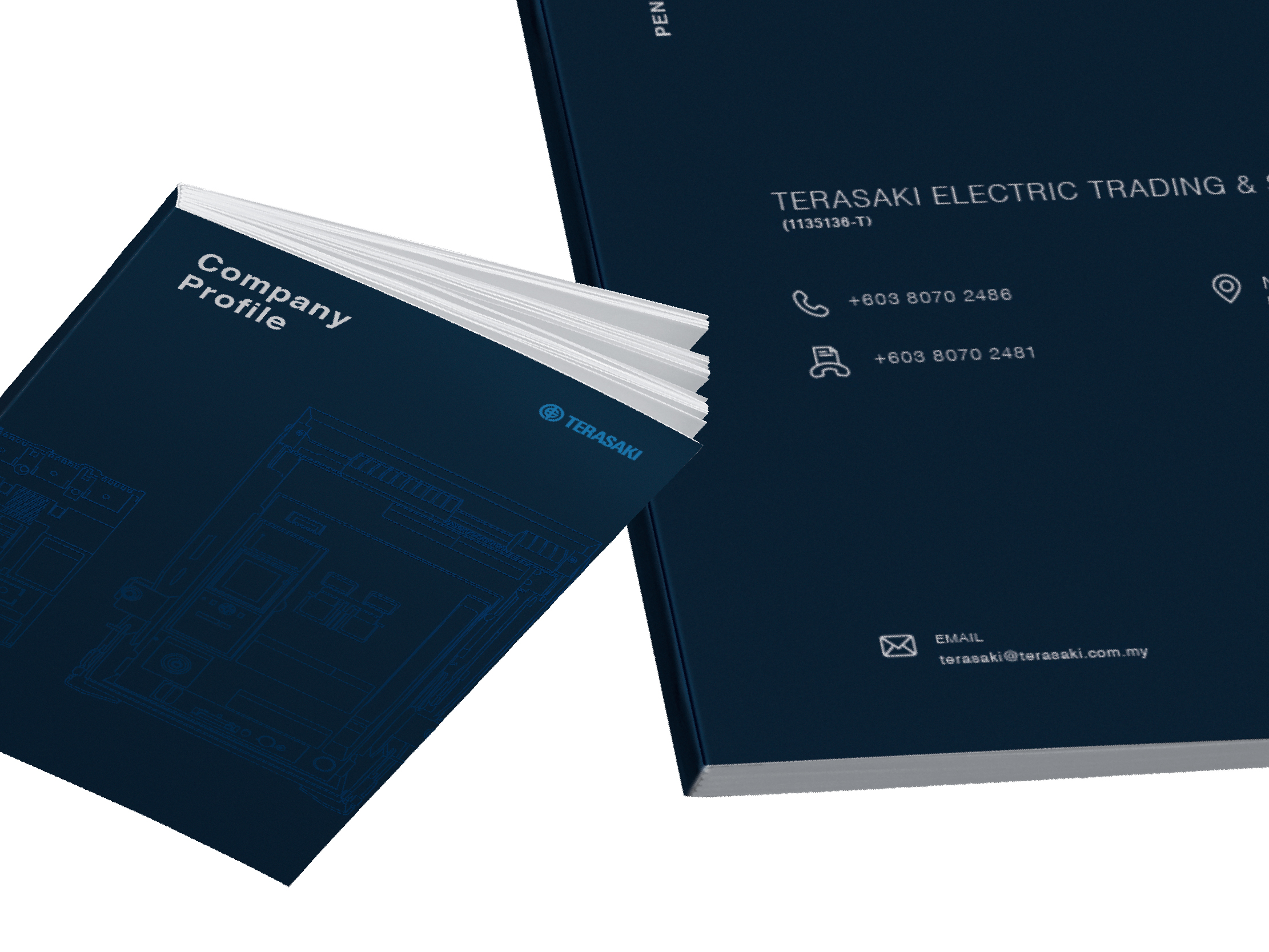 Terasaki Electric company profile front and back cover with clean layout design and product illustration