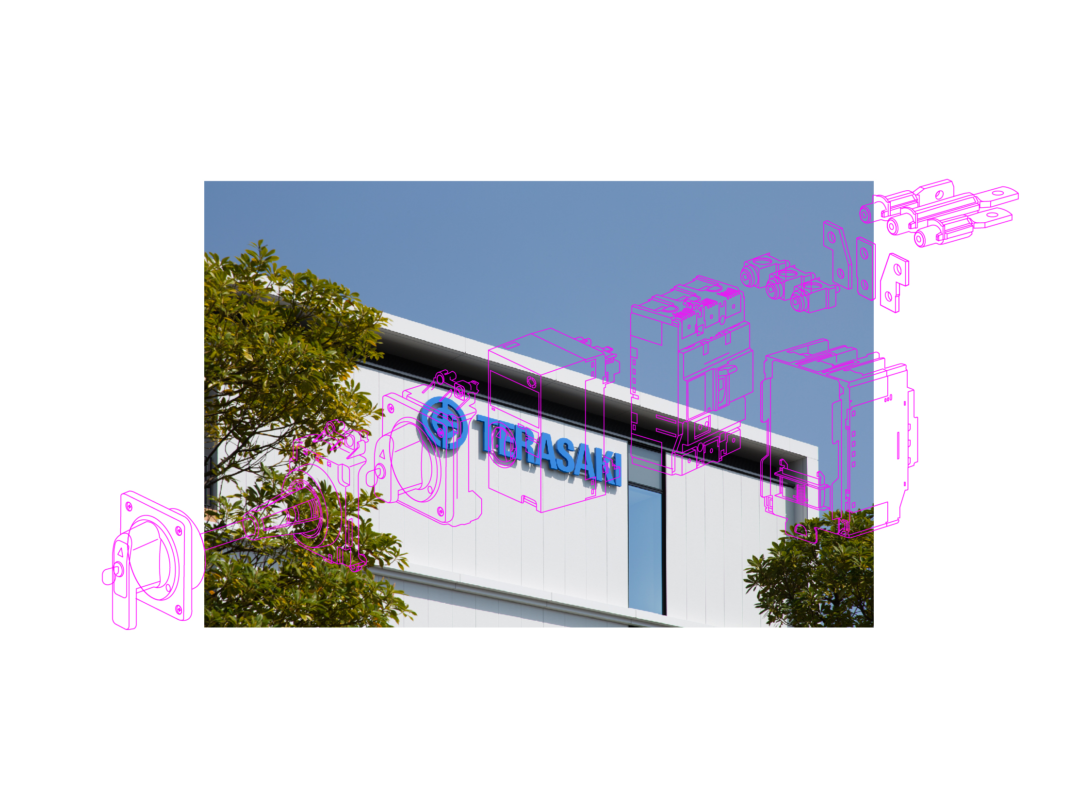 Terasaki Electric headquarter image with product technical illustration in bold pink
