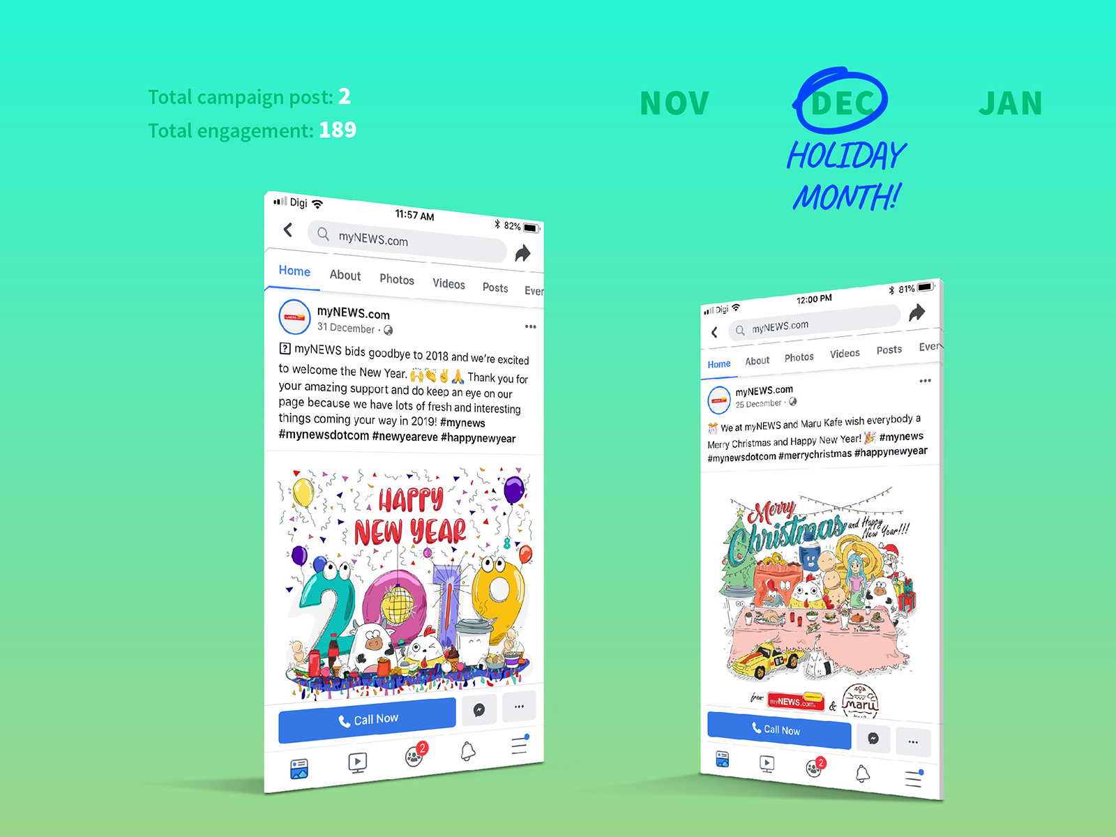 myNEWS.com social media post design for year-end and new year greetings