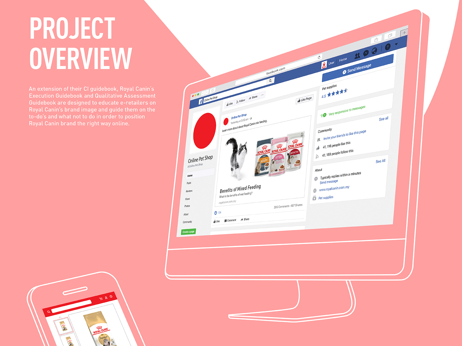 Royal Canin digital CI extension booklet guides online retailers to position the brand products and image professionally in the digital ecommerce space disregard of desktop or mobile view