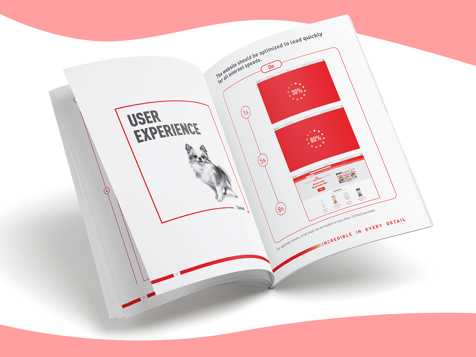 Royal Canin digital CI extension booklet inner page design that talks about user experience