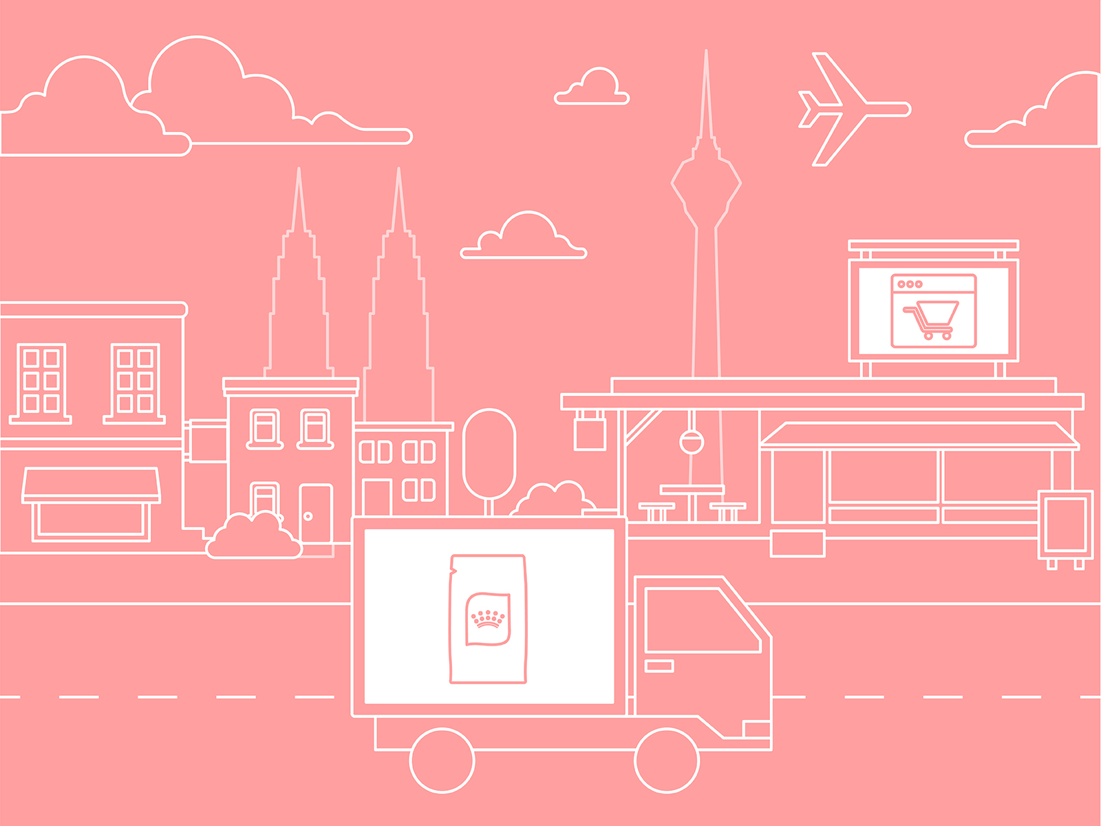 Illustration of digital device and delivery truck to showcase Royal Canin CI developed to guide e-retailers on selling online