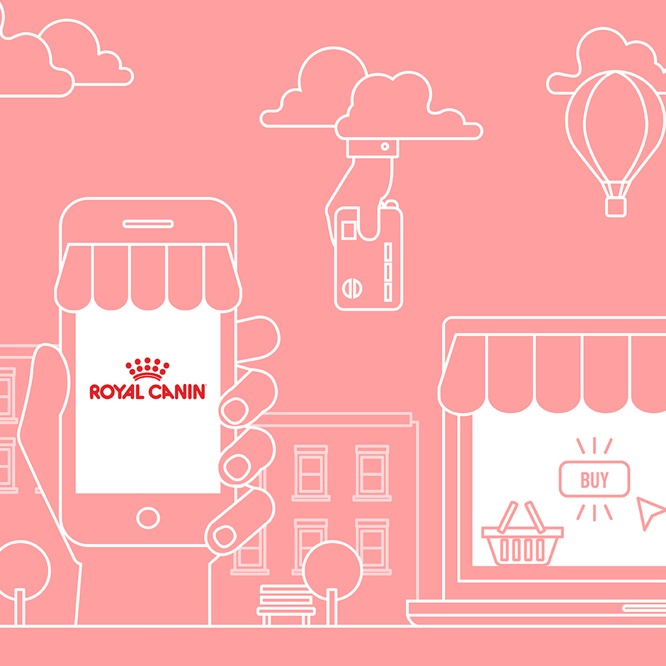 Illustration of digital devices and store featured in the digital Royal Canin CI developed to guide e-retailers on selling online